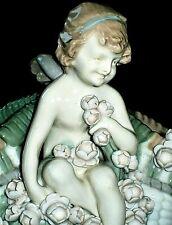 Antique Czech Amphora Cherub Angel With Flowers Basket Porcelain Figurine
