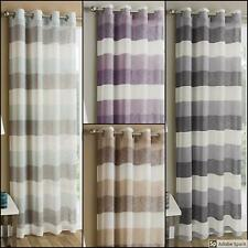 STRIPED SHEER Curtains Voile PANEL EYELET Ring Top Organza Net Drapes