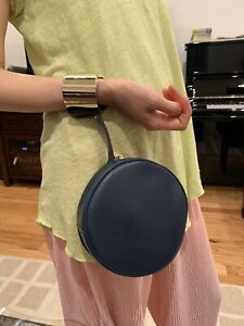 NWT Authentic Perrin Paris Le Rond Cuff  Navy Lambskin Leather Clutch $1200