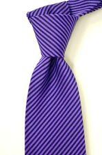 $225 NWT ISAIA 7-Fold Purple w/ Tonal Shadow Stripes Silk Neck Tie ITALY