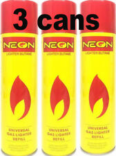 3X NEON ULTRA REFINED BUTANE GAS FILTERED LIGHTER REFILL FUEL w/ 5 Adapters