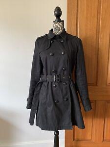 Witchery Black Heavy Cotton Trench Coat Sz 12