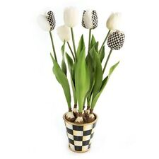 MacKenzie Childs Courtly Check Potted Tulips Beautiful NEW IN BOX