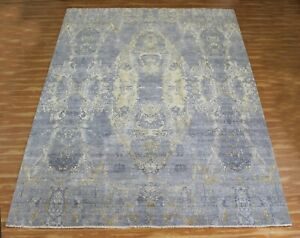 9x12 Indian Hand Knotted Wool Silk Area Rug Handmade Antique Look Modern Carpet