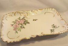 VINTAGE LIMOGES H&C L France Floral Serving Platter PINK FLOWERS BUTTERFLY TRAY