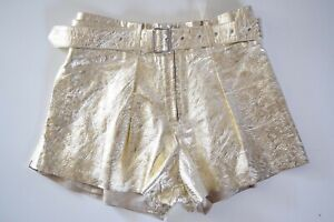 NEW $498  DIESEL L LONI A LAMINATED EFFECT SHORT For Woman SZ XS in GOLD