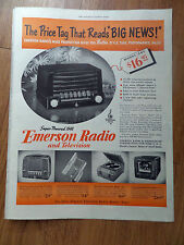 1948 Emerson Radios Phonographs TV Television Ad
