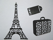 Eiffel Tower Luggage Travel  Paper Die Cuts x 4 Sets  Scrapbooking Embellishment