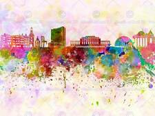 La pittura illustrazione Cityscape Pittura Splash Skyline GINEVRA ART PRINT mp5262b