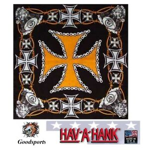 Hav-A-Hank BIKER IRON CROSS ENGINE Harley D HD Color BANDANA Head Face Wrap Mask