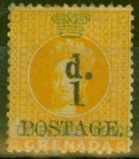 More details for grenada 1886 1d on 1 1/2d orange sg37 fine mtd mint