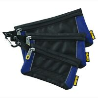 Irwin Tool 3 Pack Small Parts Organiser Bag Pouch Zipper Storage Supplies Items