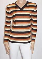KNIT ONE Brand Browns V Neck Thick Rib Knit Long Sleeve Jumper Size L BNWT #SE65