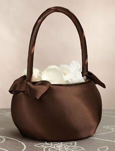 brown wedding flower girl basket