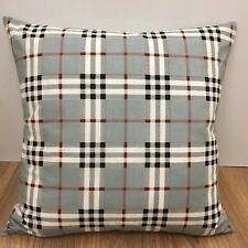 733. Handmade TARTAN CHECK ON GREY 100% Cotton Cushion Cover Various sizes