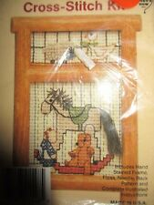 Country Cross Stitch Kit Rocking Horse Toy Room with Hand Stained Frame