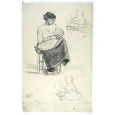 Antique French Academic Life Drawing,Paris Art School, Woman, Mother Baby, 1912