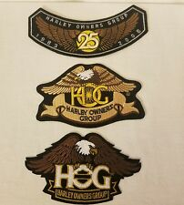 HARLEY OWNERS GROUP HOG Set of 3 Patches 25 Year Commemorative NEW Free Ship