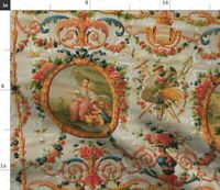 Rococo Grey Large Baroque Romantic Toile Spoonflower Fabric by the Yard