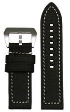 22mm Panatime Black Carbon Fiber Flat Watch Band w/White Stitching 22/22 125/75