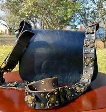 "New ListingPatricia Nash ""Rosa"" Guitar Strapped Leather Saddle Crossbody Bag - Black"