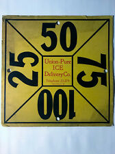 Rare Vintage 1930's Union Pure Ice Delivery Co Dayton Ohio Advertising Sign