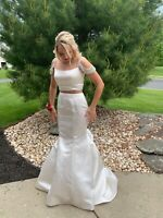 Sherri Hill White Beaded 2 Piece Formal Prom Wedding Pageant Dress size 8