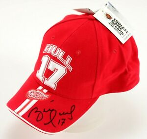 Detroit Red Wings Brett Hull TEAM ISSUED & AUTOGRAPHED Hat