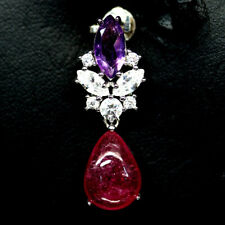 NATURAL PINK RUBY AMETHYST & CZ PENDANT 925 SILVER STERLING
