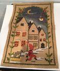 Vintage Cross Stitch Tapestry Nursery Rhyme Wee Willie Winkie Winky ? Dog Houses