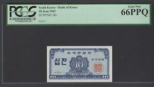 South Korea 10 Jeon 1962 P28a Block 2 Uncirculated Grade 66