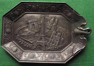 c1900 Art Nouveau Souvenir de Paris Spelter Pewter Vide Poche Pin Ring Tray