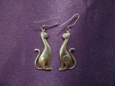 Sterling Silver .925 Cat Duo Dangle Earrings