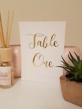 rustic table numbers cards gold foil white wedding