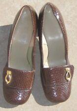 Vintage Mod Shoes Chunky Heel Faux Lizard  Slip On Carol Brent 8.5 US