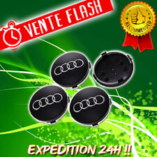 4 Logo Audi Cache Moyeu Centre De Roue Jante Insigne Noir 60mm