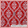 BonEful Fabric FQ Cotton Quilt Red White Damask Flower Toile Swirl Scroll Heart