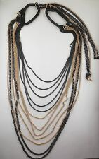 PREMIER QUALITY Multiple Goldtone/Black Chain Bib Design Necklace