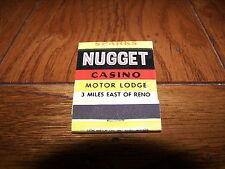 SPARKS NUGGET CASINO MOTOR LODGE Reno Sparks Nevada NV Rare 1950's Matchbook