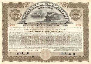New York Central & Hudson River Railroad $1000 Michigan Central bond certificate