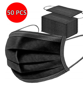 50x Disposable Face Masks Black 3PLY Soft Mask Breathable Mouth Cover Guard UK