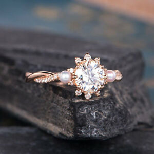 Gorgeous 18K Rose Gold Filled White Sapphire & Pearl Ring Wedding Women Ring
