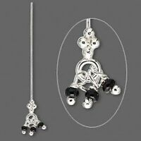 4 Sterling Silver 3 Black Bead Dangles 24 Gauge 1.5 Inches Long Head Pins *