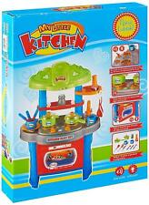 Children Kids Kitchen Cooking Girl Boy Toy Cooking Play Set Red With 9 Utensils