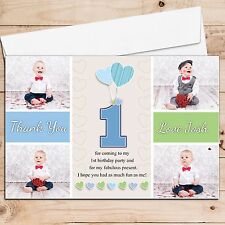 10 Personalised Boys Birthday Thank You PHOTO Cards N249 Heart Balloons ANY AGE