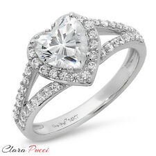 1.85CT Round Heart Cut Solitaire Engagement Wedding Ring Solid 14k White Gold