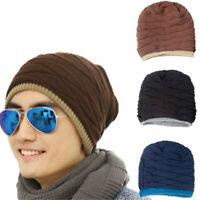 Women Men Hat Crochet Knitted Wool Hat Beanie Winter Warm Fleece Ski Cap Skully