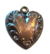 "Vintage 3/4"" Brass Tin Heart Pendant"