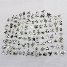 100 Bulk Mixed Tibetan Silver Charm Pendants Beads DIY Jewelry Findings Necklace