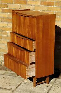 Mid-century 1960s compact teak slimline bureau laptop desk drinks cabinet